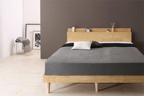(UF) 棚・コンセント付きデザインすのこベッド Camille カミーユ 国産カバーポケットコイルマットレス付き シングル (UF1)