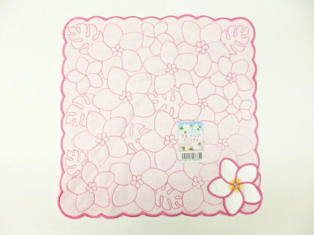 沖縄柄ミニタオル プルメリア ピンク