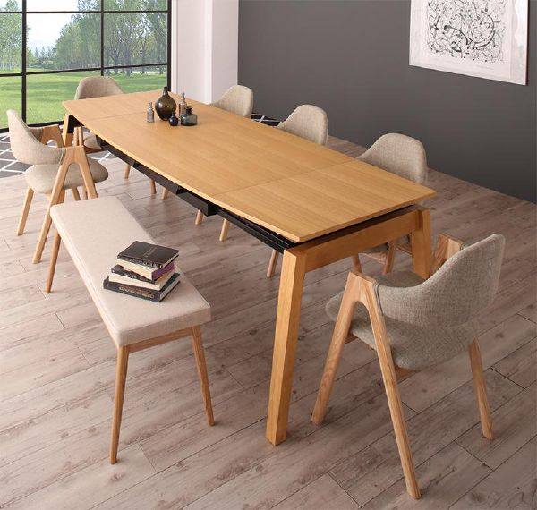 (UL) 新生活応援 ダイニングテーブル 北欧デザイン スライド伸縮ダイニング MALIA マリア 8点セット(テーブル+チェア6脚+ベンチ1脚) W140-240 (UL1)