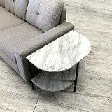 【送料無料】(UL)大理石調サイドテーブル半円形600×390mmT-182-7-6050(UL1)