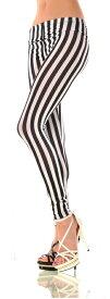 レディースのレギンス スパッツ(レギンスパンツ) 派手な柄 縦ストライプ 黒と白 大きいサイズ クイーンサイズ 男性用にも コスプレやコスチュームに レギパン ダンス 衣装 ヒップホップ