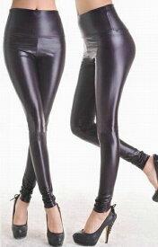 レディースのレギンス スパッツ(レギンスパンツ) シンプルな無地のデザイン ウェットルック 黒(ブラック) コスプレやコスチュームに レギパン(パギンス) ダンス 衣装 ヒップホップ