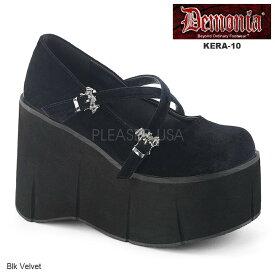 DEMONIA(デモニア) KERA-10 ブラック ベルベットパンプス 送料無料 レディース 靴 コウモリバックル クロスストラップ 約11cm厚底◆在庫処分