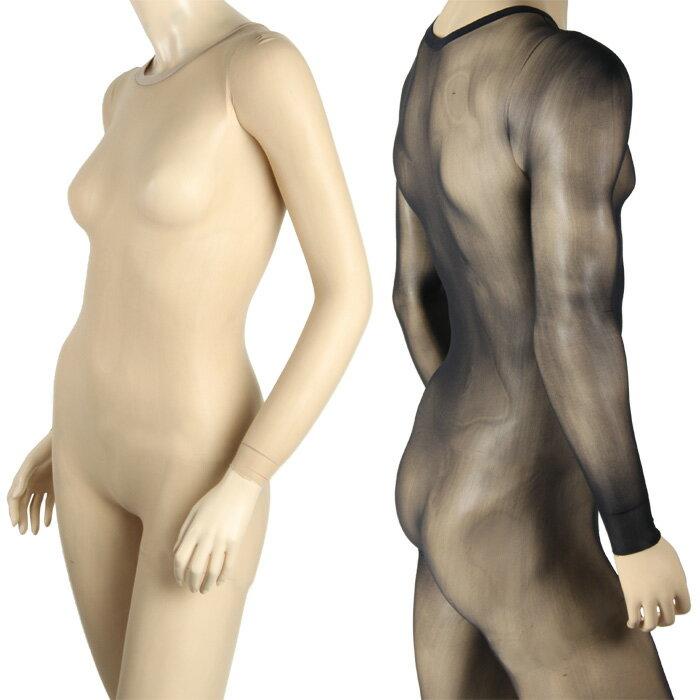 ボディストッキング 全身タイツ ボディスーツ body stocking 防寒用インナータイツ ボディタイツ コスプレ ベージュ肌色 ヌード 黒 長袖 セクシー
