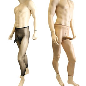 メンズパンスト 男性用ストッキング パンスト サオ付き レギンスタイプ 極薄の10デニール メンズストッキング メンズランジェリー メンズタイツ
