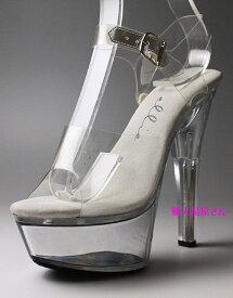 厚底 サンダル 即納 送料無料 Ellie Shoes エリーシューズ クリア アンクルストラップ クリアアッパー ハイヒール 靴 レディース キャバ コスプレ 大きいサイズ ヒール高14.5cm コンビニ後払い(NP後払い)対応