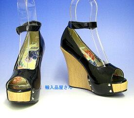 ウェッジソール パンプス 即納 送料無料 在庫処分 Ellie Shoes エリーシューズ エナメル 黒 ブラック アンクルストラップ 厚底パンプス ハイヒール 靴 レディース コスプレ キャバ 小さいサイズ 大きいサイズ コンビニ後払い(NP後払い)対応