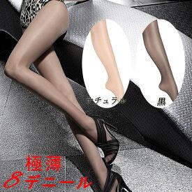 FIORE パンティストッキング(パンスト シアータイツ) レディース オールスルー(切り替えなし パンティとレッグ部分がシームレス) 大きいサイズもあり 8デニール 極薄 インナー 下着 ナイトウエア レディース靴下 レッグウエア C5003-DORIS
