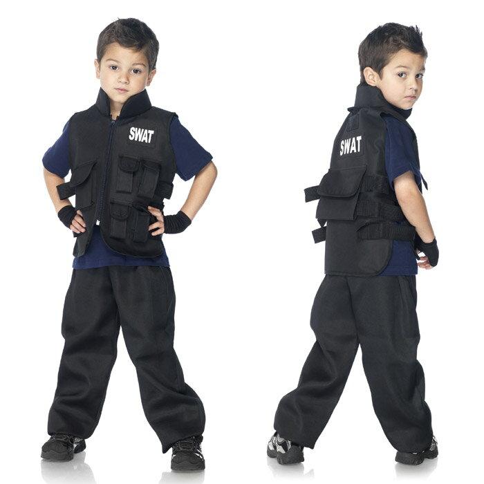 コスプレ ハロウィン 衣装 SWAT (特殊部隊 警察 警官 ミリタリー系) コスチューム 子供用 男の子 キッズ コスプレ衣装 仮装 レッグアベニュー(legavenue 正規品) かっこいい かわいい パーティー イベント C46111