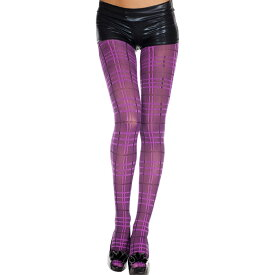 Music Legs プレイド/チェック柄 タイツ (レディース オペイク) パンスト パンティストッキング パンティーストッキング コスプレ 衣装 色は紫 ML-7224