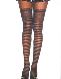 Music Legs フェイクのボーダー柄とレーストップ柄 レディースの パンスト パンティストッキング パンティーストッキング コスプレ 衣装 色は 黒(ブラック) ML-7238