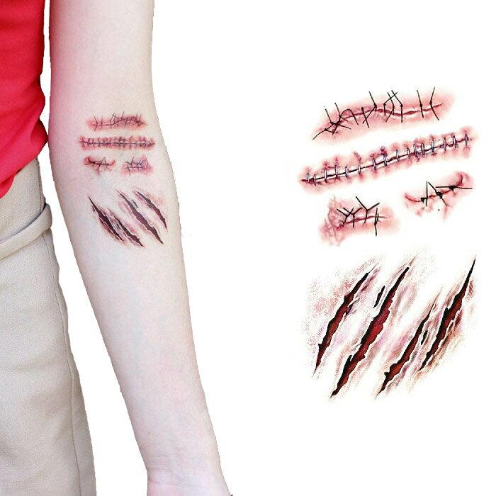 タトゥーシール リアルなフェイクタトゥー 傷メイク 傷シール 傷跡の柄 ホラー ゾンビメイク コスプレ ハロウィン ボディペイント