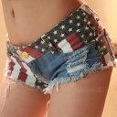 ホットパンツ ショートパンツ レディース デニム 星条旗柄 マイクロミニ ベリーショート 短パン ダンス コスプレ 衣装 デニム セクシー ダメージ メンズも着用可