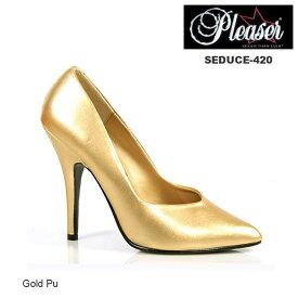 送料無料 Pleaser プリーザー レディース 大きいサイズ ゴールド プレーン ハイヒール/12cmヒール ポインテッドトゥ/とんがり レディース靴 パーティ/パーティー フォーマル 22cm 23cm 24cm 25cm 26cm 27cm 28cm 29cm SEDUCE-420/SED420/G/PU