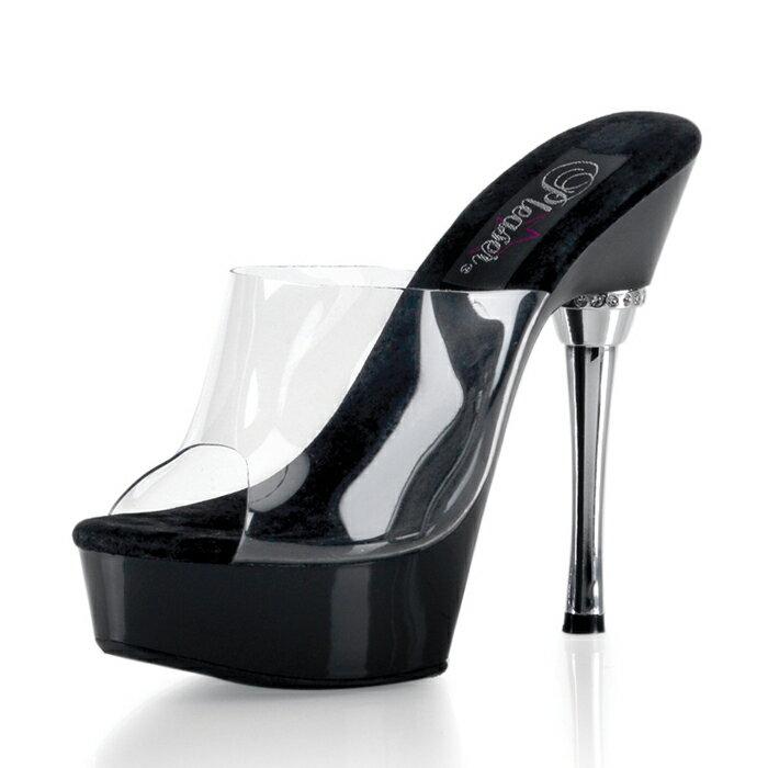 送料無料 Pleaser(プリーザー)厚底のハイヒールミュール 結婚式にも クリア色のミュールサンダルでヒールにラインストーン サンダルミュール 黒(ブラック) パーティー用レディースシューズ(女性用のクツ) 靴 ピンヒール ALLURE-601-CLR-BLK
