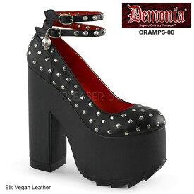 DEMONIA(デモニア) レディース厚底靴/パンプス/シューズ スタッズ&ダブルアンクルストラップ CRAMPS-06 マットブラック◆取り寄せ