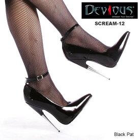 DEVIOUS (Pleaser) フェティッシュなつま先立ちパンプス メタルヒール SCREAM-12 黒◆取り寄せ