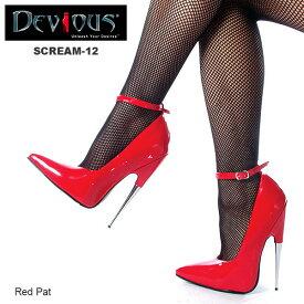 DEVIOUS (Pleaser) フェティッシュなつま先立ちパンプス メタルヒール SCREAM-12 赤◆取り寄せ