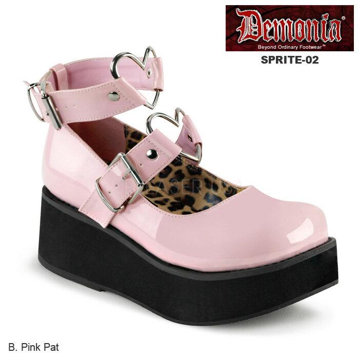 DEMONIA(デモニア) ハートリングストラップ 厚底パンプス SPRITE-02 ベビーピンク◆取り寄せ