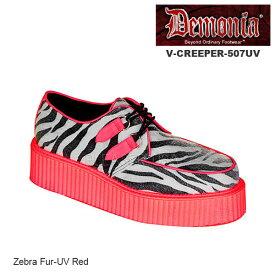 DEMONIA(デモニア) ブラックライト UV蛍光/厚底靴 クリーパー V-CREEPER-507UV-RED◆取り寄せ