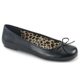 【5%OFFクーポン配布中】取寄せ 送料無料 Pleaser プリーザー バレエシューズ ぺたんこ靴 フラットシューズ パンプス リボンモチーフ つや消し黒(ブラック) レディース ラウンドトゥ 大きいサイズあり コスプレ 衣装 イベント パーティ 女装 ANNA-01 ANNA01/BPU