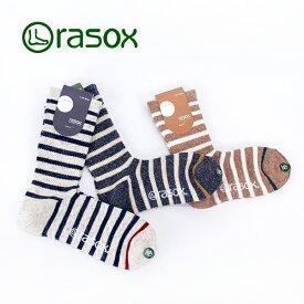 rasox ラソックス コットン・ボーダー・クルー ソックス[CA130CR01]【2017FW】