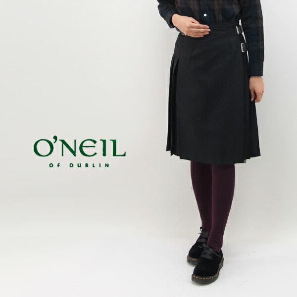 【BASIC】オネイル/オニールオブダブリン レディース 100%WORSTEDWOOL CHECK プリーツラップスカート[124]