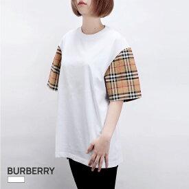 バーバリー BURBERRY Tシャツ レディース 半袖 トップス モノグラムモチーフ コットン ホワイト XS/S/M/L 80148961 カジュアル 白 ブランド おしゃれ シンプル クルーネック チェック
