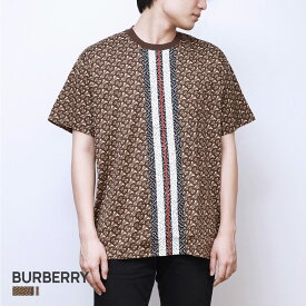 バーバリー BURBERRY MUNLEY TBM Tシャツ メンズ モノグラムストライププリント 半袖 コットンTシャツ ブラウン XS/S/M/L 8018239