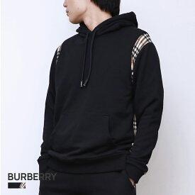 バーバリー BURBERRY CHECKER メンズ ヴィンテージチェックパネル コットン フーディー ブラック XS/S/M/L 80262721【返品交換無料】