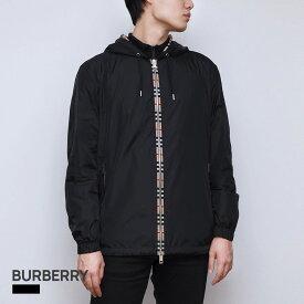 バーバリー BURBERRY メンズ アウター ジャケット ジャケット フード付き ジップアップ ブルゾン ブラック 44〜50(UKサイズ) 8026630【返品交換無料】