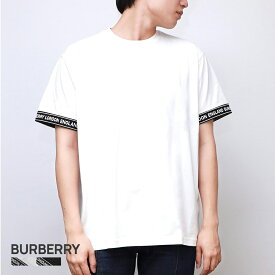 バーバリー BURBERRY TESLOW Tシャツ メンズ 半袖 ロゴテープ コットン オーバーサイズTシャツ ホワイト/ブラック XXS/XS/S/M 80294481 カジュアル ブランド おしゃれ 黒 白 ゆったり