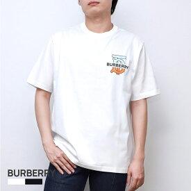 バーバリー BURBERRY GANTHER Tシャツ メンズ 半袖 モノグラムモチーフ コットン オーバーサイズ ホワイト/ブラック XXS/XS/S/M 80321861 ブランド おしゃれ クルーネック カジュアル 黒 白
