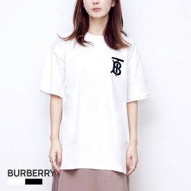 バーバリー BURBERRY EMERSON TB Tシャツ レディース 半袖 モノグラムモチーフ コットン オーバーサイズTシャツ シャツ カットソー ホワイト ブラック XS/S/M/L 8017472 8017473 白 黒 おしゃれ