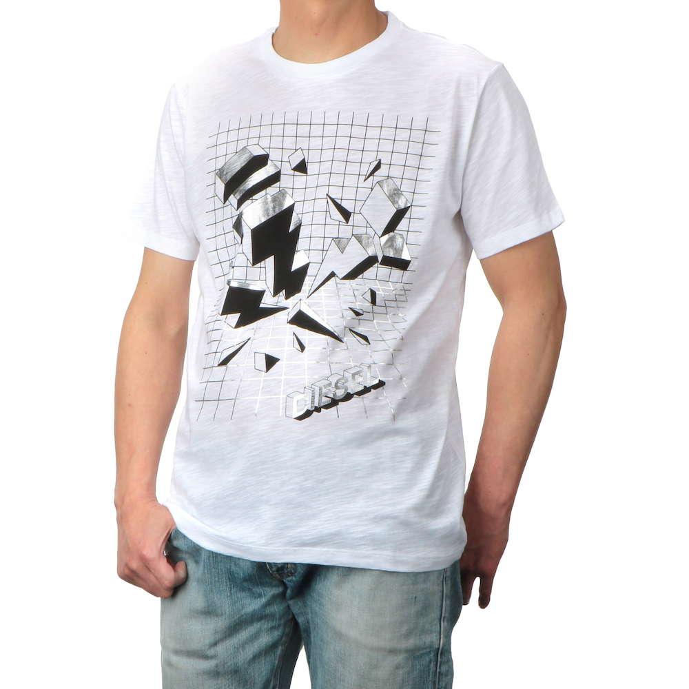 ディーゼル DIESEL T-JOE-SX MAGLIETTA メンズ トップス Tシャツ DSA-00SXNS-0TAMJ-100-L Uネックブランド ティーシャツ シャツ カットソー カジュアル
