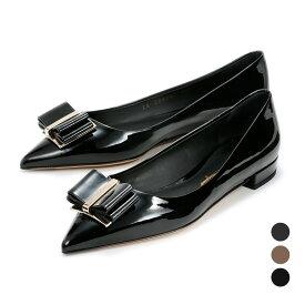 サルヴァトーレ フェラガモ Salvatore Ferragamo フラットパンプス レディース DOUBLE BOW パンプス 革靴 リボン ポインティトゥ
