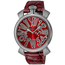ガガミラノ GAGA MILANO SLIM 46MM メンズ 時計 腕時計 スイス製 ガガ ミラノ クォーツ レッド 5084.04