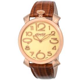 ガガミラノ GAGA MILANO MANUALE THIN 46MM メンズ 時計 腕時計 スイス製 ガガ ミラノ クォーツ ベージュ 5091.05-N