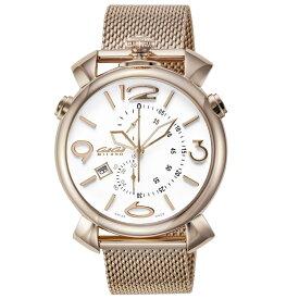 ガガミラノ GAGA MILANO メンズ 時計 腕時計 スイス製 ガガ ミラノ クォーツ ホワイト 5098.01BR-NEW
