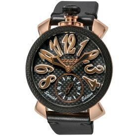 ガガミラノ GAGA MILANO MANUALE 48MM メンズ 時計 腕時計 スイス製 ガガ ミラノ 手巻き ブラック 5511.SP01
