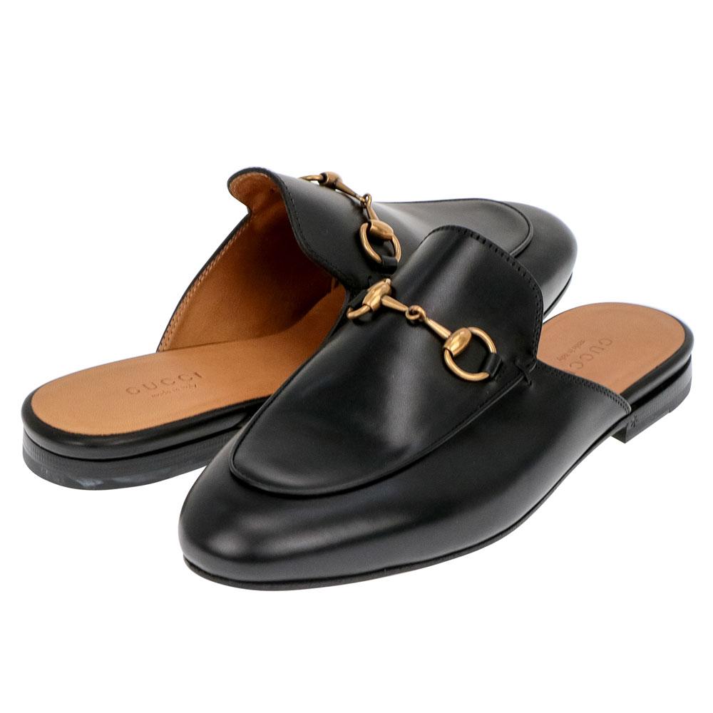 グッチ GUCCI プリンスタウン 423513 BLM00 1000 レディース シューズ スリッパ - ブラックレザー クラシック ホースビット スリッポンラグジュアリー ブランド イタリア サンダル ルームシューズ バブーシュ 靴