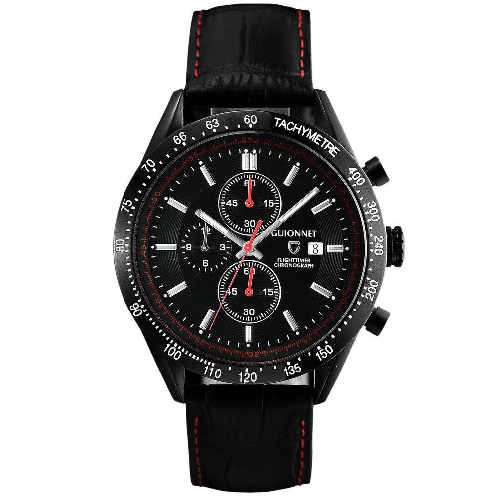 ギオネ GUIONNET フライトタイマー タキメータークロノグラフ メンズ 時計 腕時計 PG-FC42BBKBK を極めるレーシングクロノグラフ。この高級感、まさにエレガントスポーティーの頂点【ブランド】 とけい ウォッチ