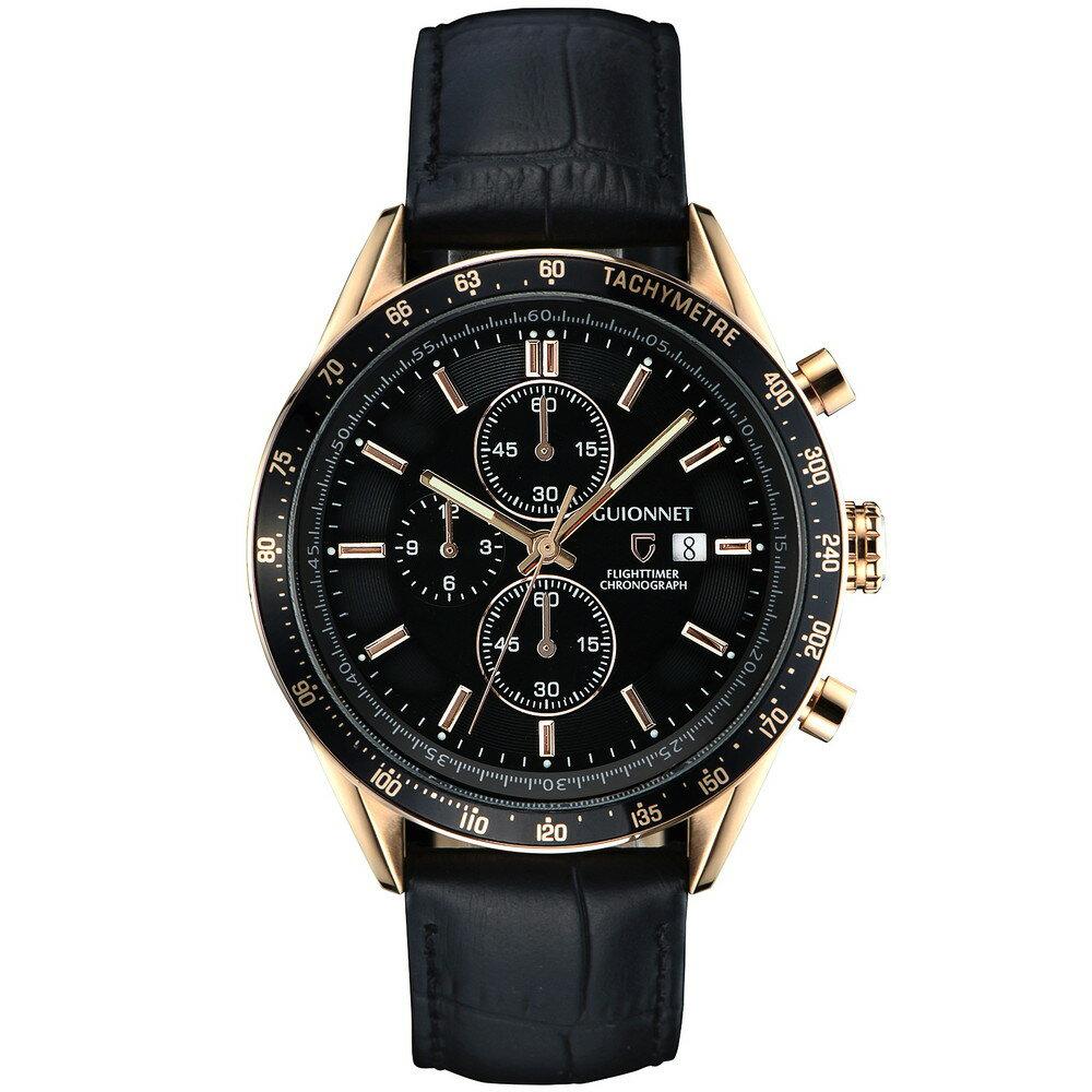 ギオネ GUIONNET フライトタイマー タキメータークロノグラフ メンズ 時計 腕時計 PG-FC42PBKBK を極めるレーシングクロノグラフ。この高級感、まさにエレガントスポーティーの頂点【ブランド】 とけい ウォッチ