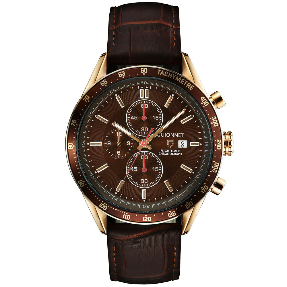 ギオネ GUIONNET フライトタイマー タキメータークロノグラフ メンズ 時計 腕時計 PG-FC42PBRBR を極めるレーシングクロノグラフ。この高級感、まさにエレガントスポーティーの頂点【ブランド】 とけい ウォッチ