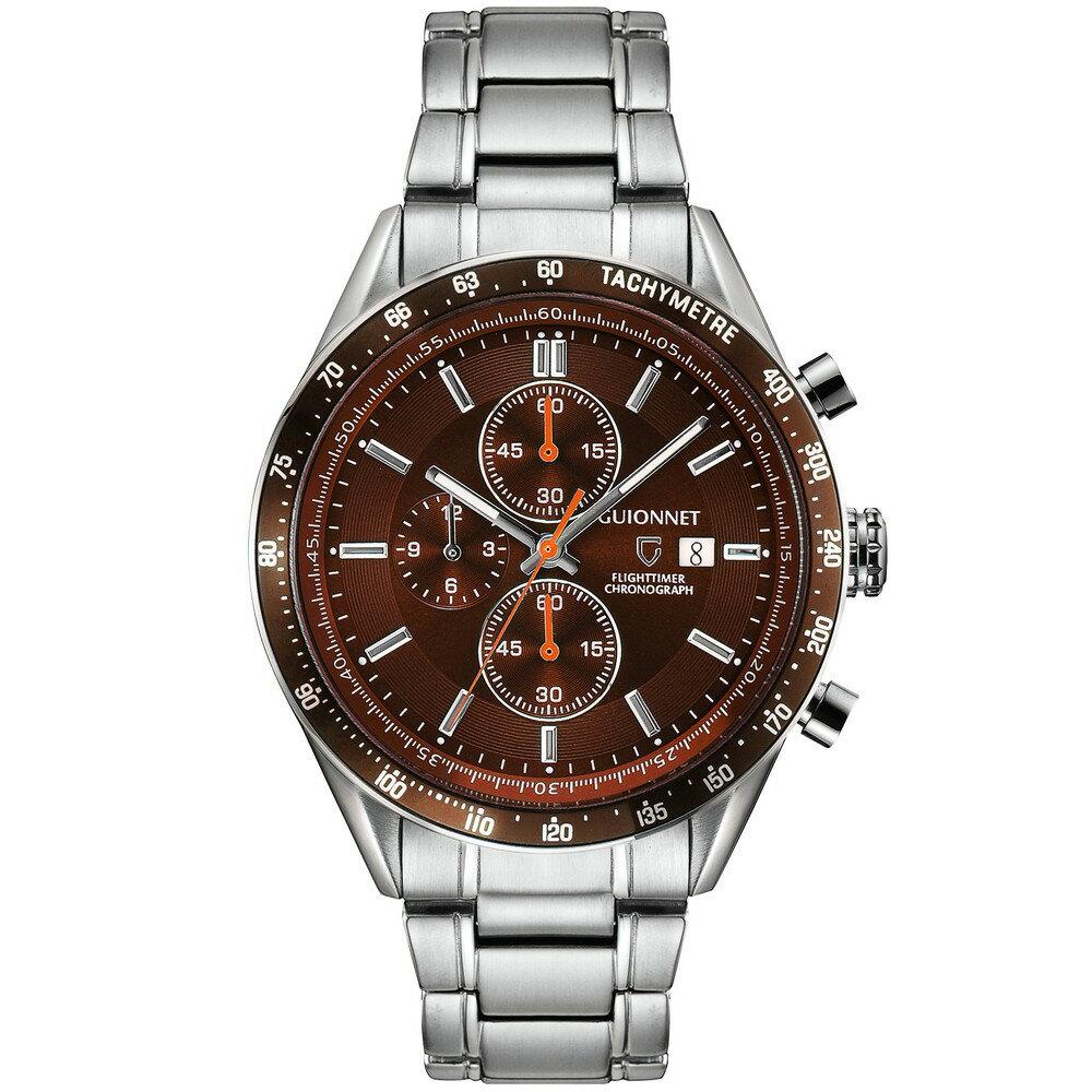 ギオネ GUIONNET フライトタイマー タキメータークロノグラフ メンズ 時計 腕時計 PG-FC42SBR を極めるレーシングクロノグラフ。この高級感、まさにエレガントスポーティーの頂点【ブランド】 とけい ウォッチ