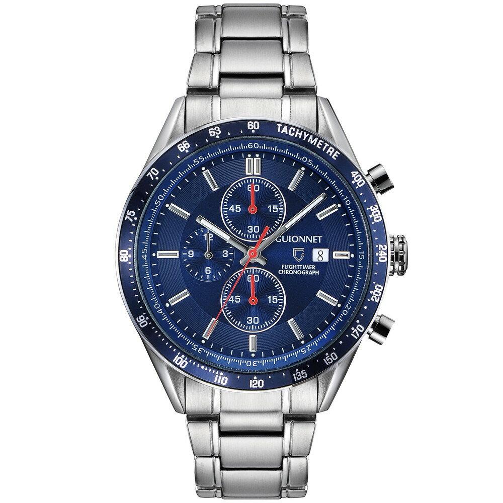 ギオネ GUIONNET フライトタイマー タキメータークロノグラフ メンズ 時計 腕時計 PG-FC42SNV を極めるレーシングクロノグラフ。この高級感、まさにエレガントスポーティーの頂点【ブランド】 とけい ウォッチ