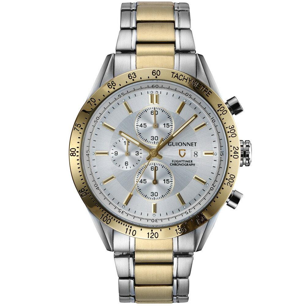 ギオネ GUIONNET フライトタイマー タキメータークロノグラフ メンズ 時計 腕時計 PG-FC42YSV を極めるレーシングクロノグラフ。この高級感、まさにエレガントスポーティーの頂点【ブランド】 とけい ウォッチ