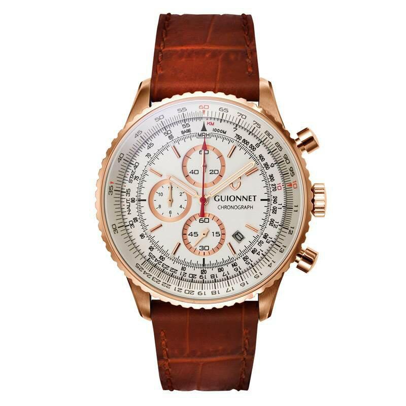ギオネ GUIONNET Flight Timer Professional メンズ 時計 腕時計 PG-FT44PIVCA 【ブランド】 とけい ウォッチ 楽天1位(12月4日現在) プレゼント 送料無料 あす楽 ブルーインパルス コラボ レザーベルト 無反射コーティング