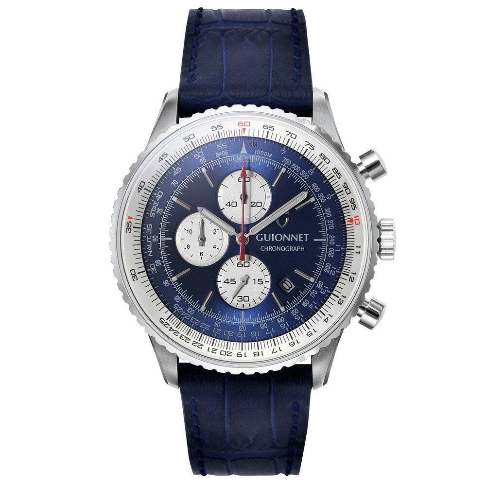 ギオネ GUIONNET Flight Timer Professional メンズ 時計 腕時計 PG-FT44SNVNV 【ブランド】とけい ウォッチ 楽天1位(12月4日現在) プレゼント 送料無料 あす楽 ブルーインパルス コラボ レザーベルト 無反射コーティング