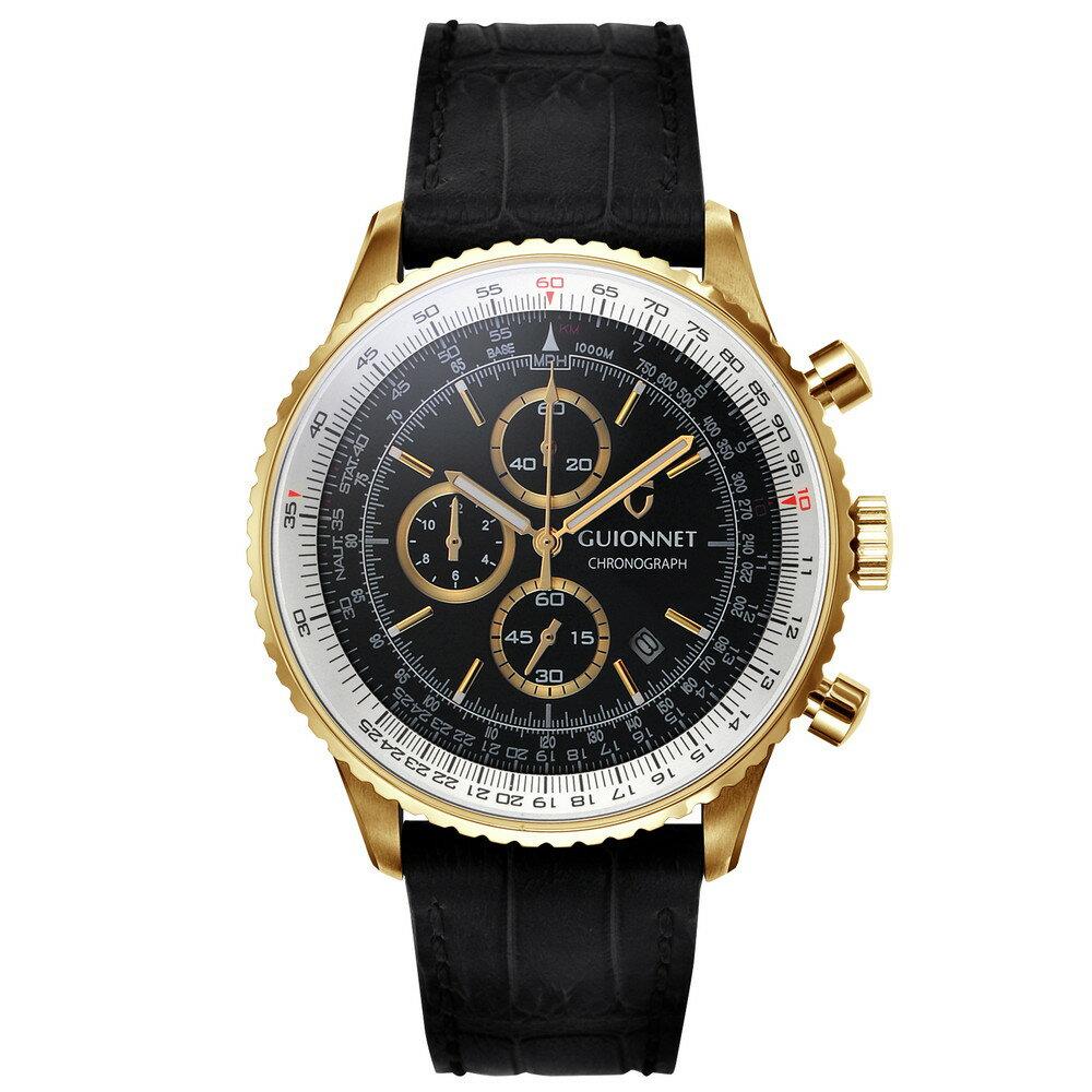 ギオネ GUIONNET Flight Timer Professional メンズ 時計 腕時計 PG-FT44YBK 【ブランド】 とけい ウォッチ 楽天1位(12月4日現在) プレゼント 送料無料 あす楽 ブルーインパルス コラボ レザーベルト 無反射コーティング